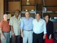 The Founders of Prostate Cancer International meet Caribbean leaders at the KI (from left): Mike Scott, the honorable Wilmoth Daniel, Deputy PM of Antigua, Arnon Krongrad, Founder and Medical Director of KI, Gilbert McLean, former Health Minister of Cayma